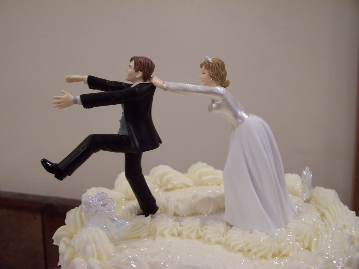 funny wedding cake topper remarkable and no running again
